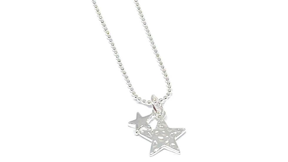 Poppy Hammered Star Necklace - Silver