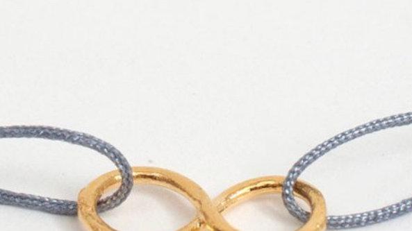 Handmade String Gold Plated Charm Bracelet.