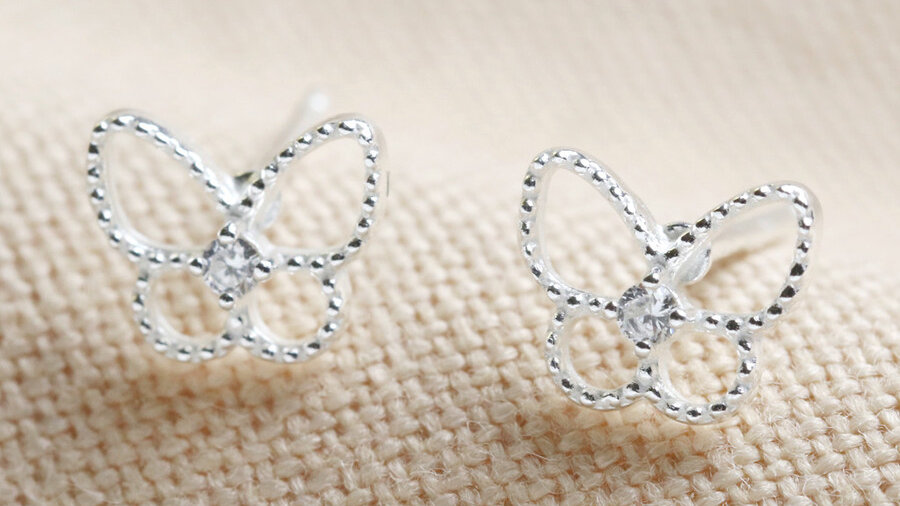Sterling Silver Sparkly Gem Butterfly Studs