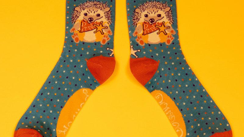 Western Hedgehog Ankle Socks Teal