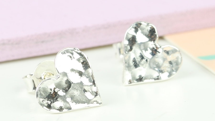 Hammered Heart Stud Earrings in Silver