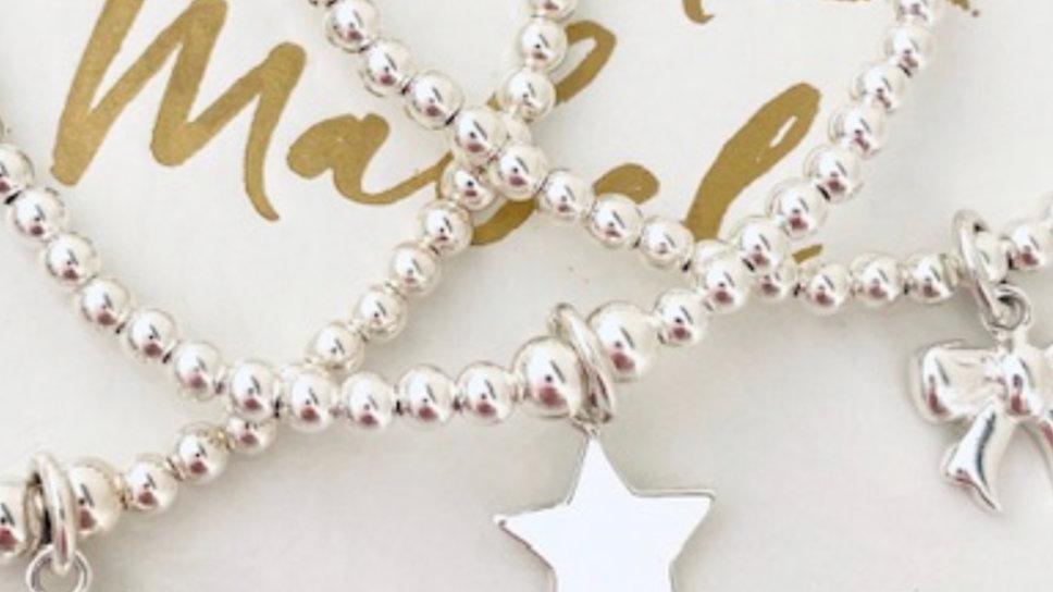 Silver Beaded Charm Bracelet