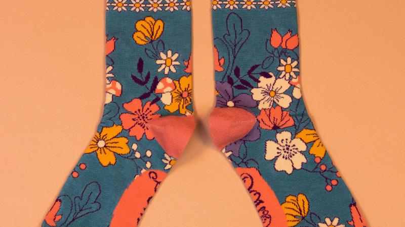 Floral Ankle Socks Teal