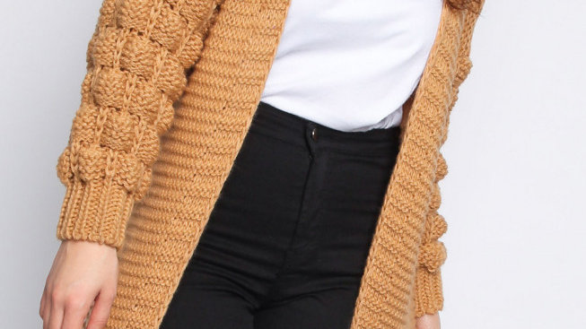 Camel Knitted Bobble Sleeve Cardigan