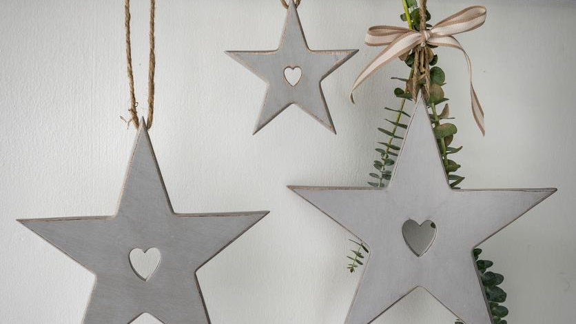 Set of three Hanging Wooden Star Decorations.