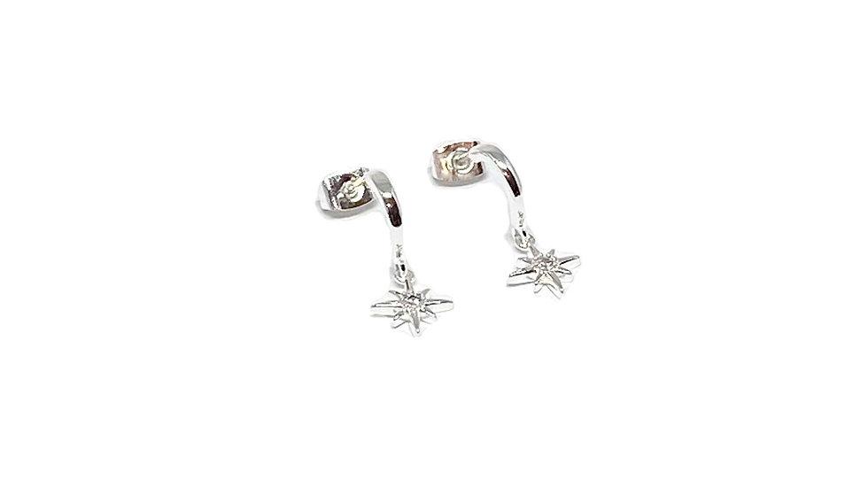 Silver Diamond Star Charm Earrings