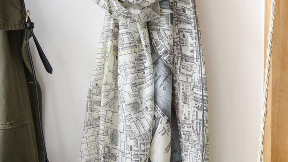 Ladies Vintage London Map Scarf