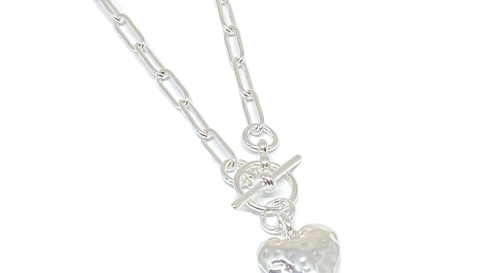 Silver Chain Link Heart Charm Necklace