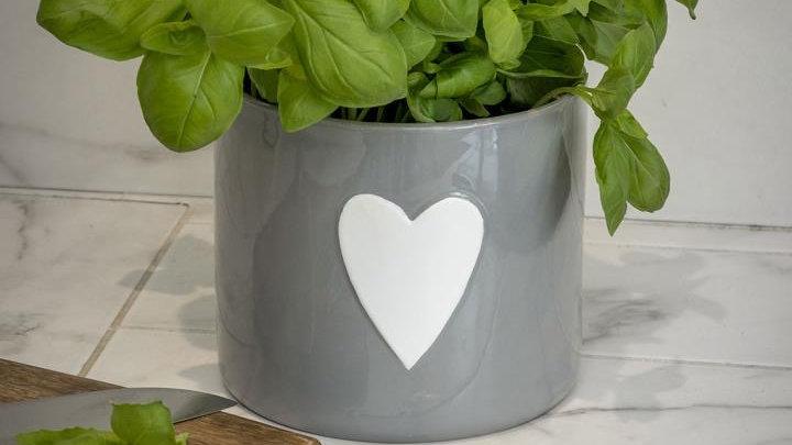 Ceramic Grey Heart Flower or Herb Pot.