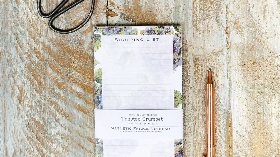Hydrangea pure magnetic shopping list pad