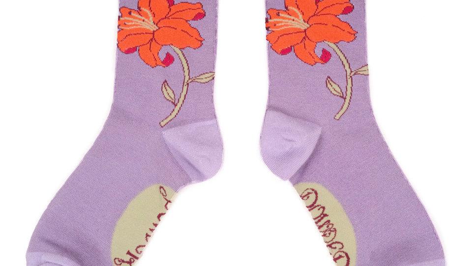 Powder Lotus Flower Bamboo Socks
