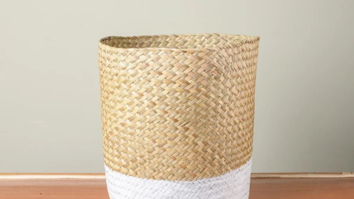 Rattan and White Storage Basket