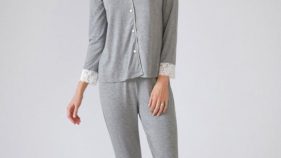 Pretty You London Pj Set in Grey Bamboo
