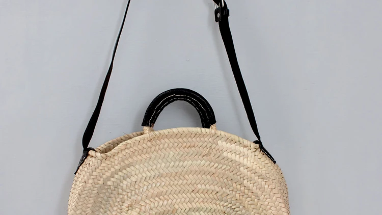 Rattan Basket with Black Leather Handle and Strap
