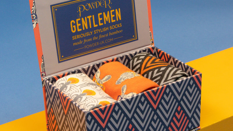 Mens Nerdy Zebra Gift Sock Box Tangerine Charcoal