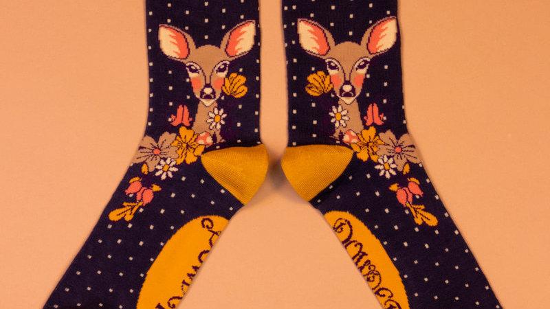 Floral Deer Ankle Socks Navy