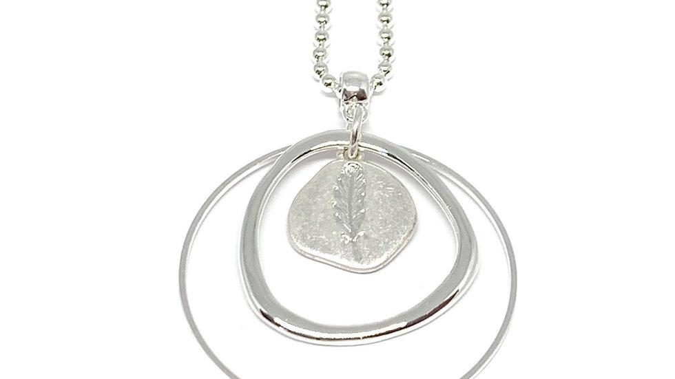 Leah Leaf Long Necklace - Silver