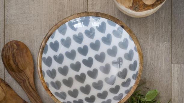 Wood/enamel heart bowl