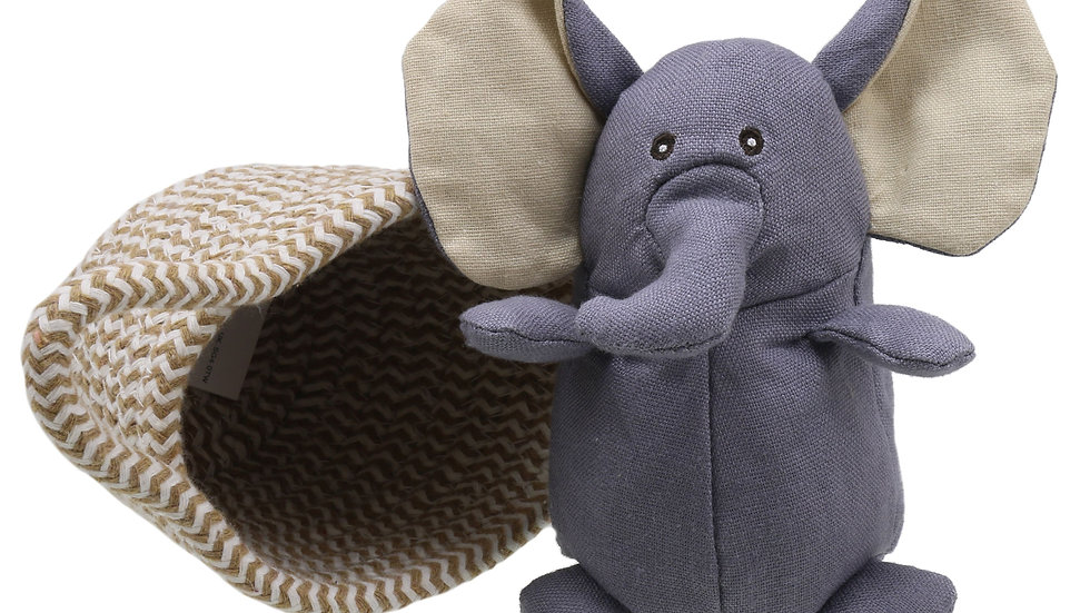 Wilberry Elephant in basket 'Grey'