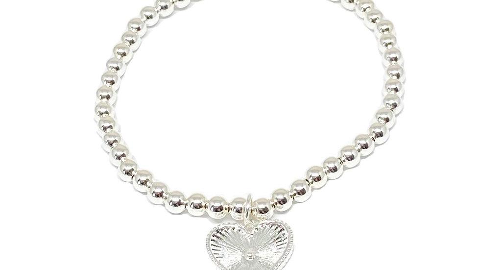 Lottie Heart Charm Bracelet - Silver