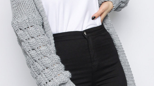 Grey Bobble Sleeve Knitted Cardigan