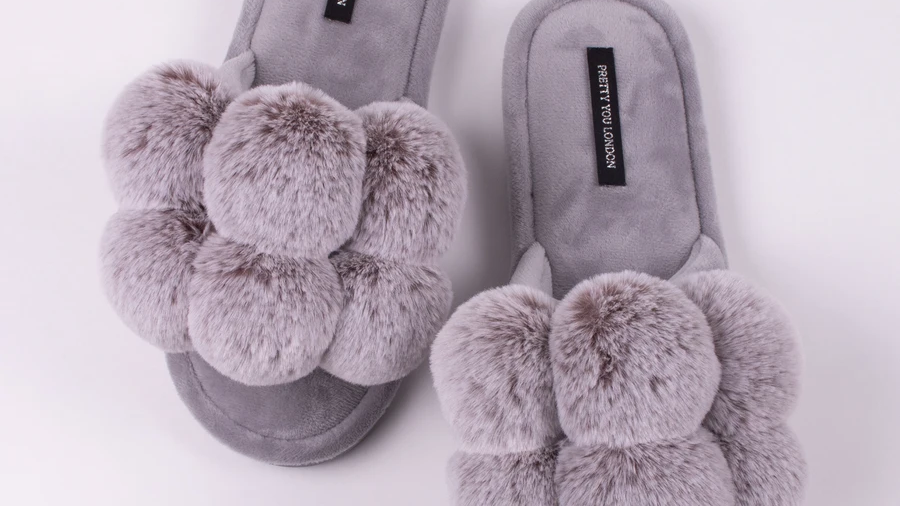 Pretty You London Dolly Slippers in Grey