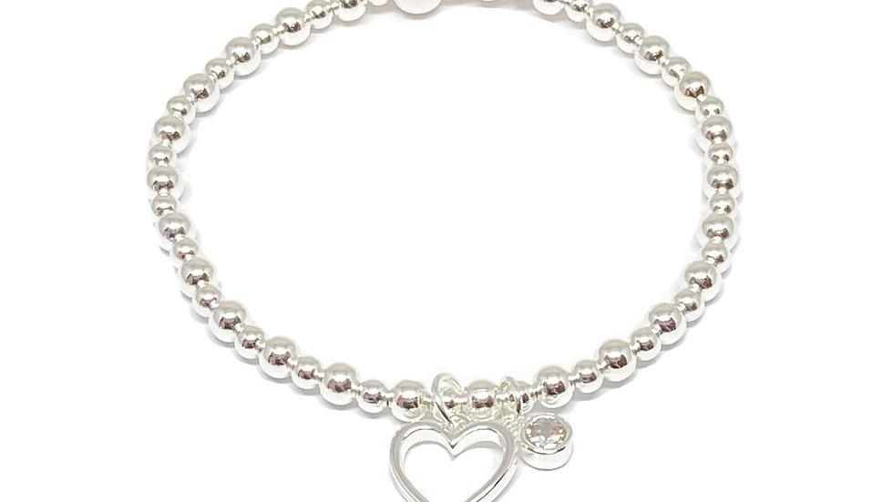 Selena Heart Bracelet - Silver