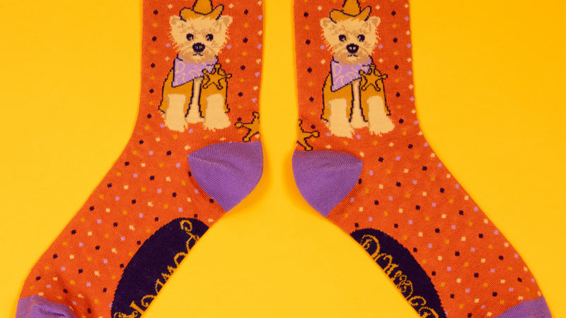 Western Westie Ankle Socks Tangerine