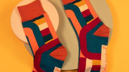 Men's Socks Curved Stripes - Teal