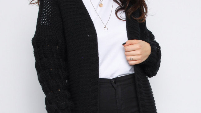 Black Knitted Bobble Sleeve cardigan