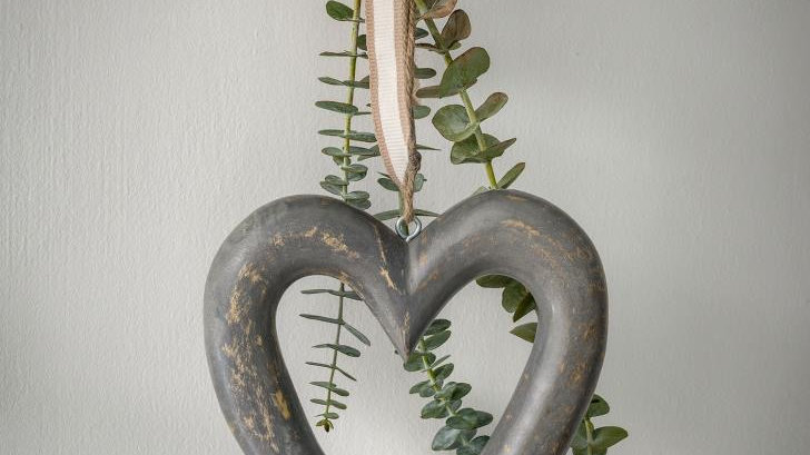 Chunky Grey Wooden Heart with Faux Eucalptus