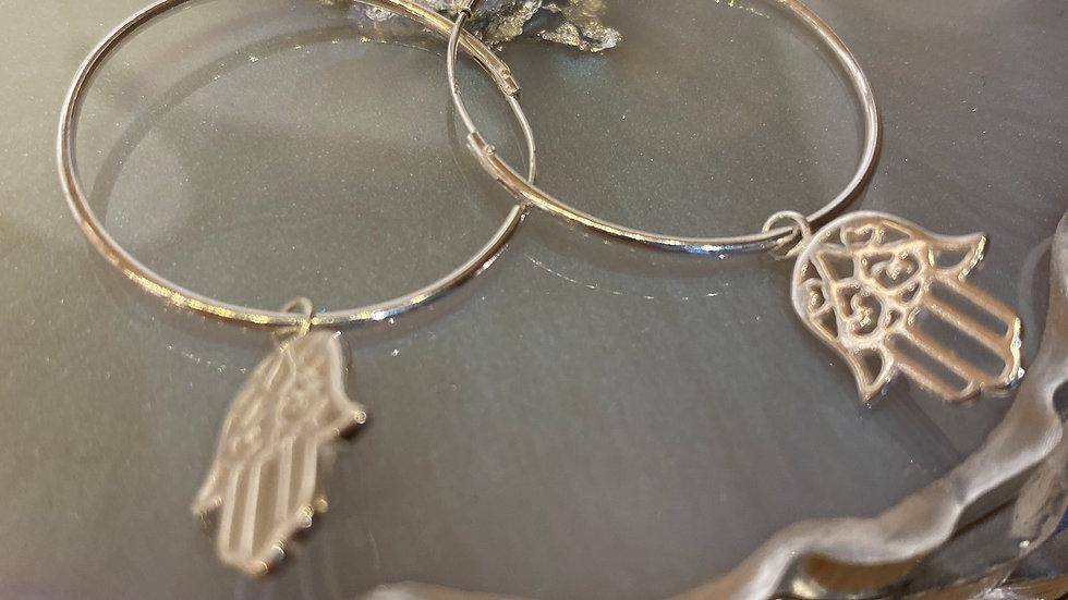 Sterling Silver Something About Mabel Hamsa Loop Earrings
