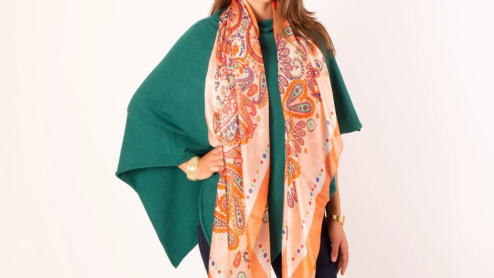 Large Pure Silk Scarf - Peach Abstract Print