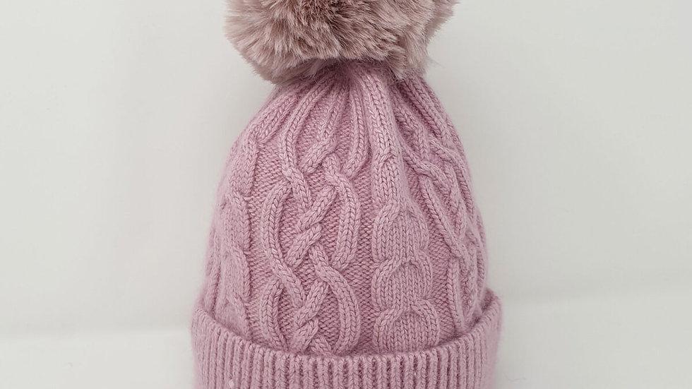 Ladies Pink Bobble Hat