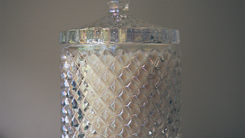 Compassion - Large Soy Wax Candle in  Pearlised Geo Diamond Glass