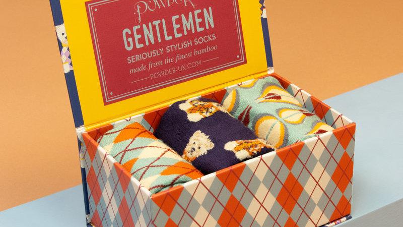 Mens Argyll Westie Gift Sock Box Navy Blue