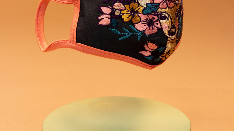 Embroidered Face Covering - Floral Doe Navy