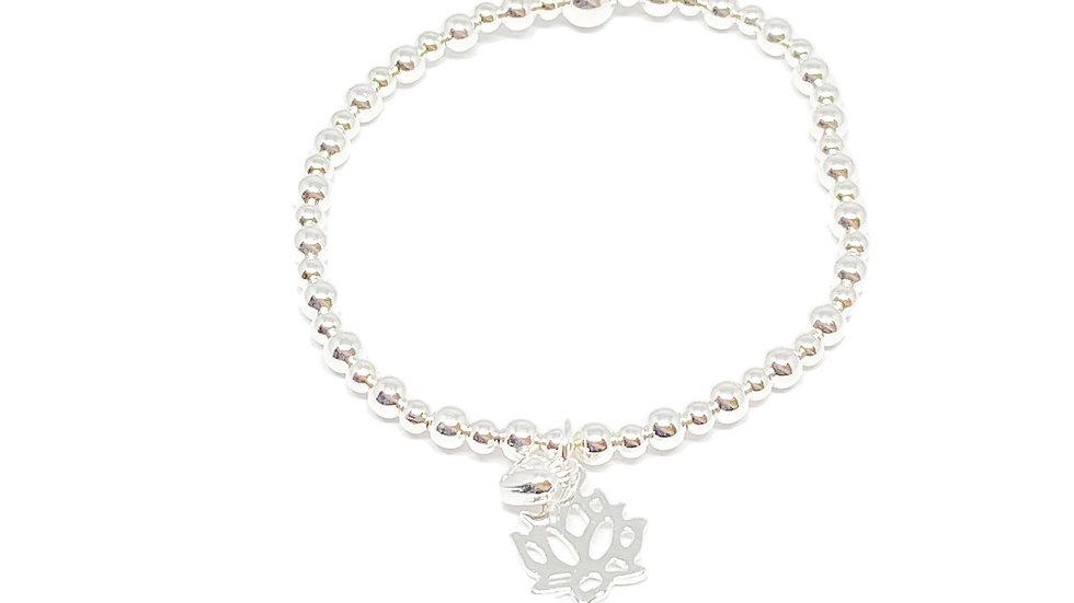 Silver Lotus Charm Bracelet