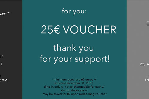 Milagro / Zia 25 euro gift certificate