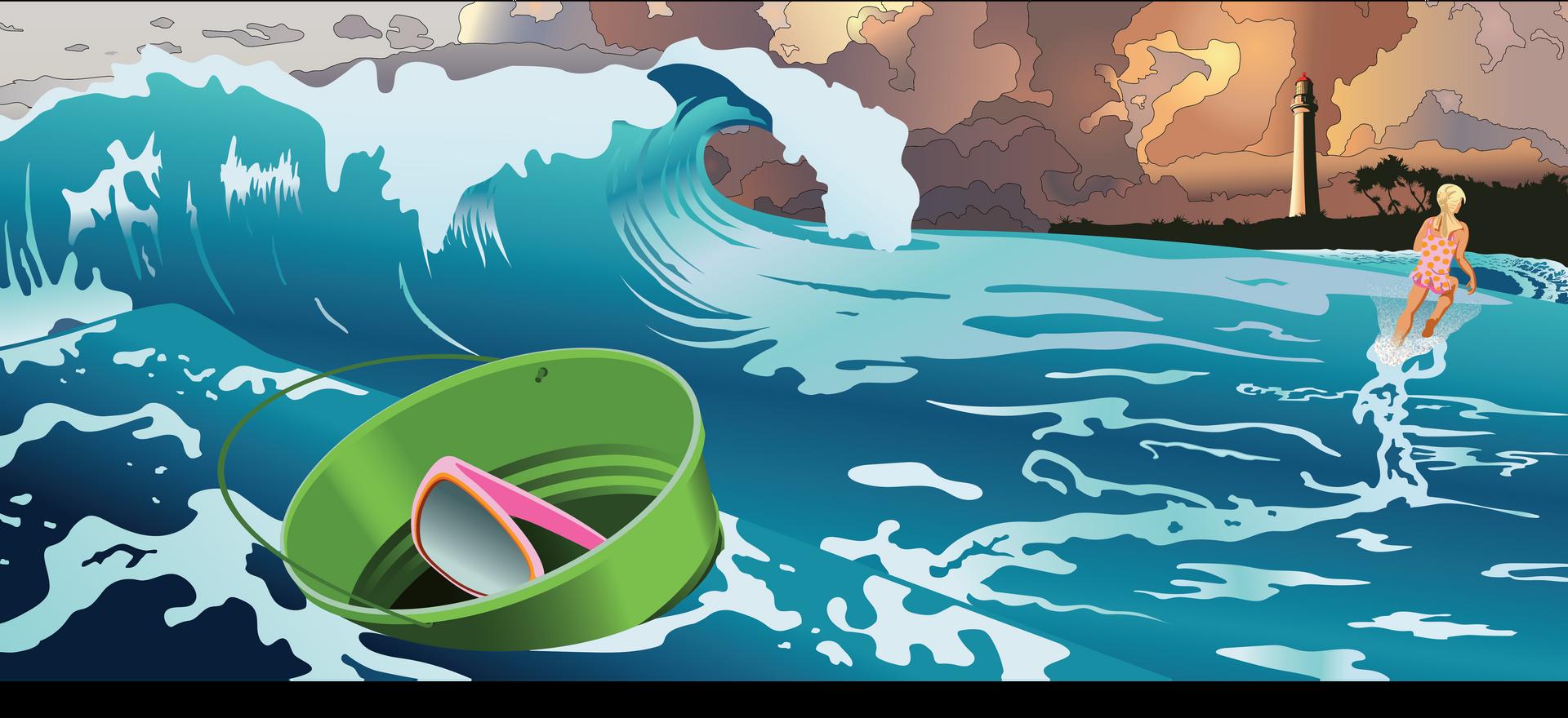 Alyssa leaves her bucket behind