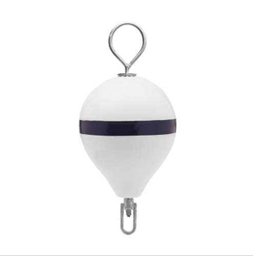 "POLYFORM MOORING BUOY W/SS 13.5"" DIAMETER - WHITE BLUE STRIPE"