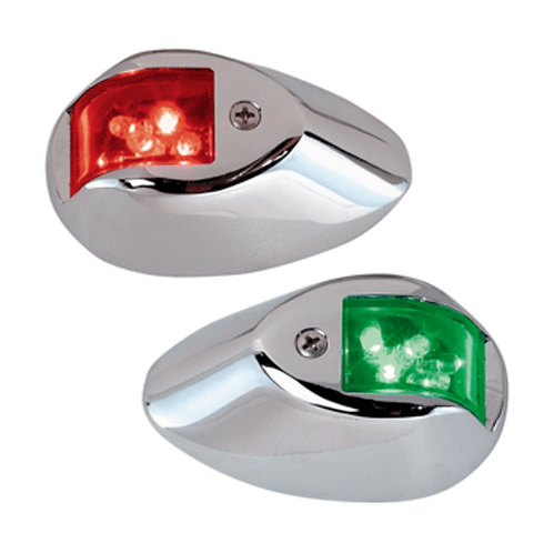 PERKO LED SIDELIGHTS - RED/GREEN - 12V - CHROME PLATED HOUSING