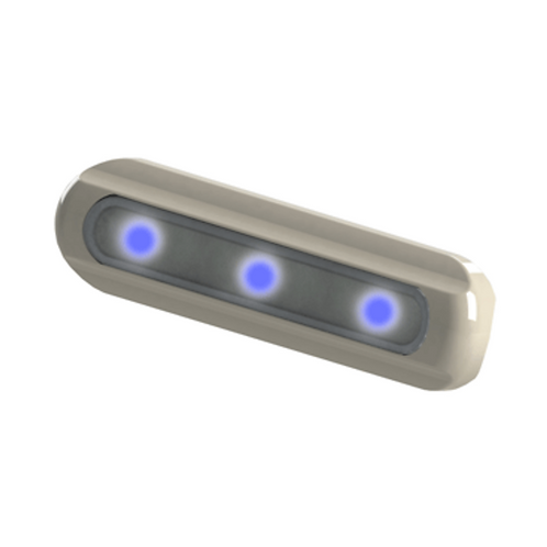 TACO LED DECK LIGHT - FLAT MOUNT - BLUE LEDS - WHITE HOUSING