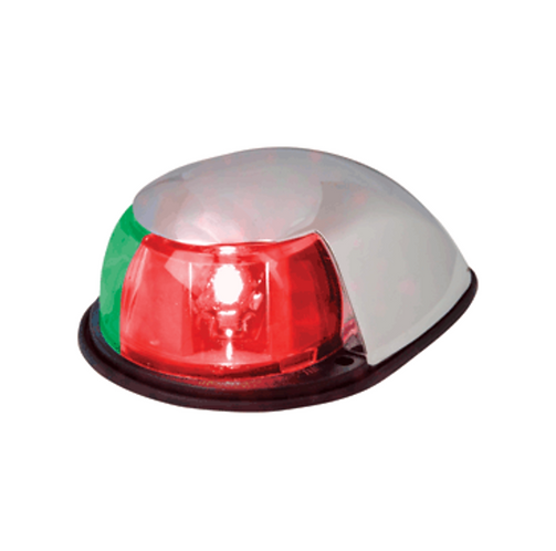 PERKO LED BI-COLOR BOW LIGHT - RED/GREEN - 12V - CHROME PLATED HOUSING