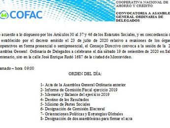 CONVOCATORIA ASAMBLEA GENERAL DE DELEGADOS 2020