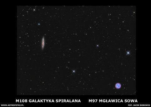 Spiral galaxy in the Ursa Major and Owl Nebula