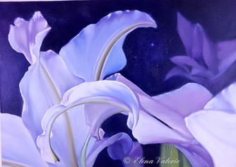White Lilies - oil painting.
