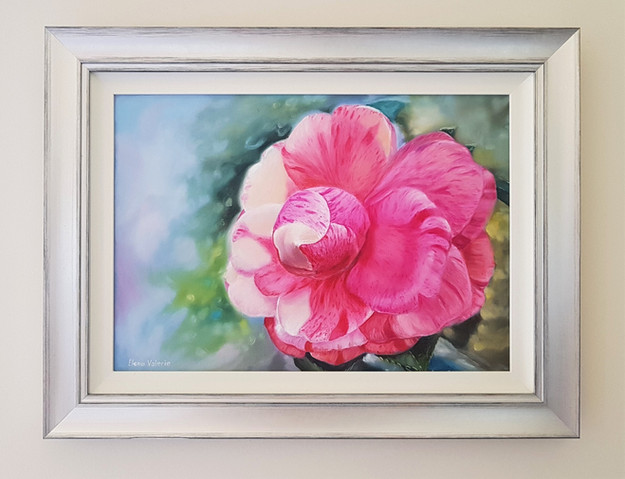 Framed Camellia Painting