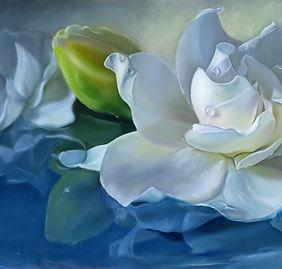 White Gardenia flower oil painting commission by Elena Valerie