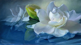 """White Gardenia Flower"" oil on canvas"